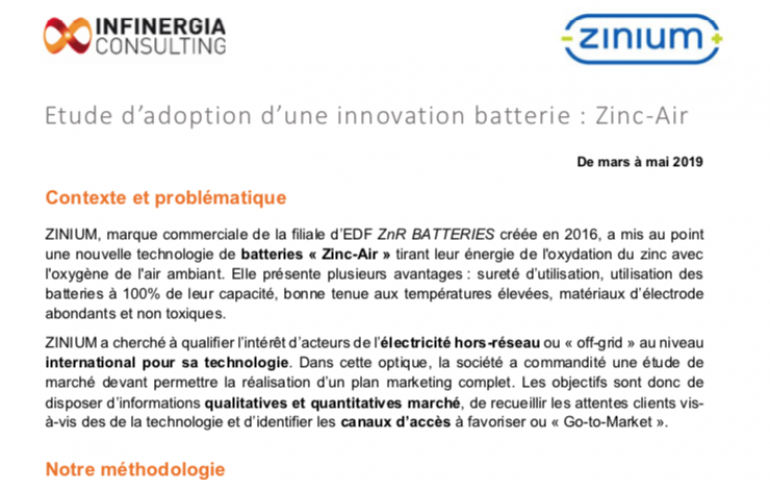 etude de cas innovation batterie Zinc-Air